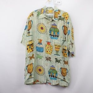 Burma Bibas Shirts - 90s Burma Bibas Mens Medium Silk Button Shirt
